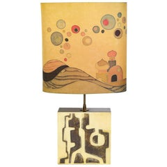 Mid-Century Modern Brutalist Brass Lamp with Handpainted Maheux Lampshade