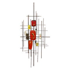 Mid-Century Modern Brutalist Brass & Orange Yellow Enamel Wall Sculpture, 1970s