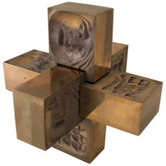 Mid-Century Modern Brutalist Bronze Puzzle Sculpture Marked Viljans Nyaar