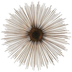 Mid-Century Modern Brutalist Brass Sunburst Wall Sculpture in Brass After Jere
