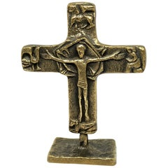 Mid-Century Modern Brutalist Bronze Crucifix Cross Standing Sculpture