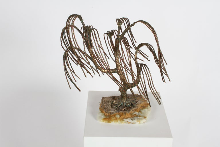 Mid-Century Modern Brutalist Bronze Sculpture of Weeping Tree by Artist Bijan For Sale 6
