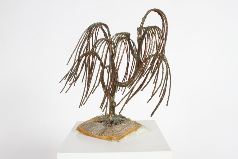 American Mid-Century Modern Brutalist Bronze Sculpture of Weeping Tree by Artist Bijan For Sale