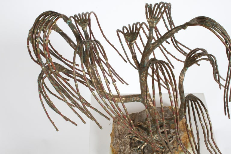 Mid-Century Modern Brutalist Bronze Sculpture of Weeping Tree by Artist Bijan In Good Condition For Sale In St. Louis, MO