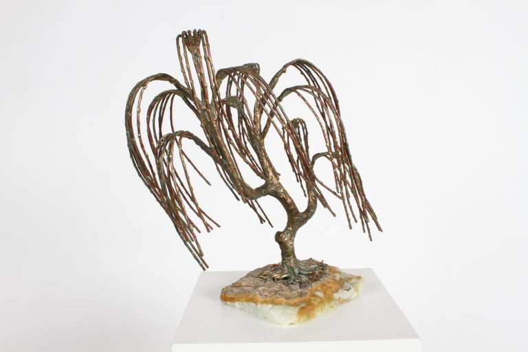 Mid-20th Century Mid-Century Modern Brutalist Bronze Sculpture of Weeping Tree by Artist Bijan For Sale