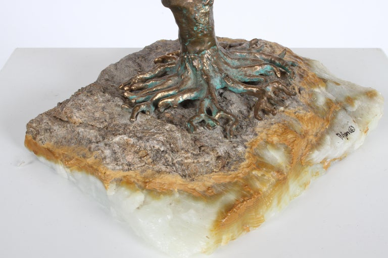 Mid-Century Modern Brutalist Bronze Sculpture of Weeping Tree by Artist Bijan For Sale 1