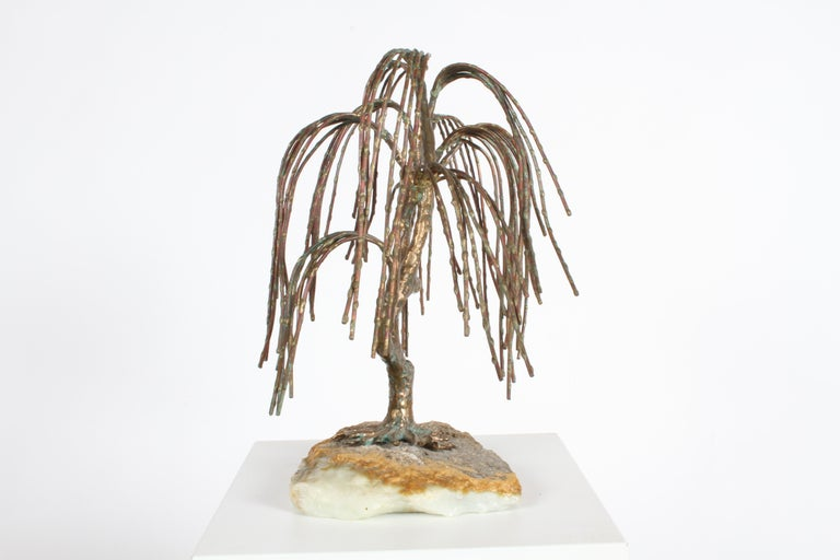 Mid-Century Modern Brutalist Bronze Sculpture of Weeping Tree by Artist Bijan For Sale 2