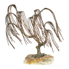 Mid-Century Modern Brutalist Bronze Sculpture of Weeping Tree by Artist Bijan