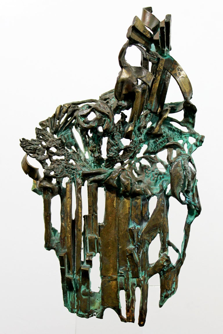 Mid-Century Modern Brutalist Bronze Table Sculpture Signed Glen Michaels, 1970s For Sale 6