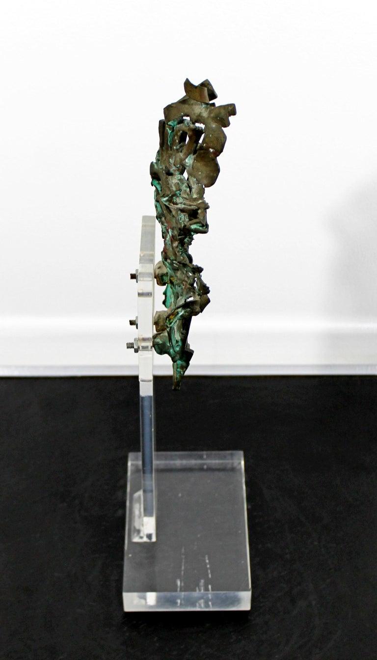 Mid-Century Modern Brutalist Bronze Table Sculpture Signed Glen Michaels, 1970s For Sale 1
