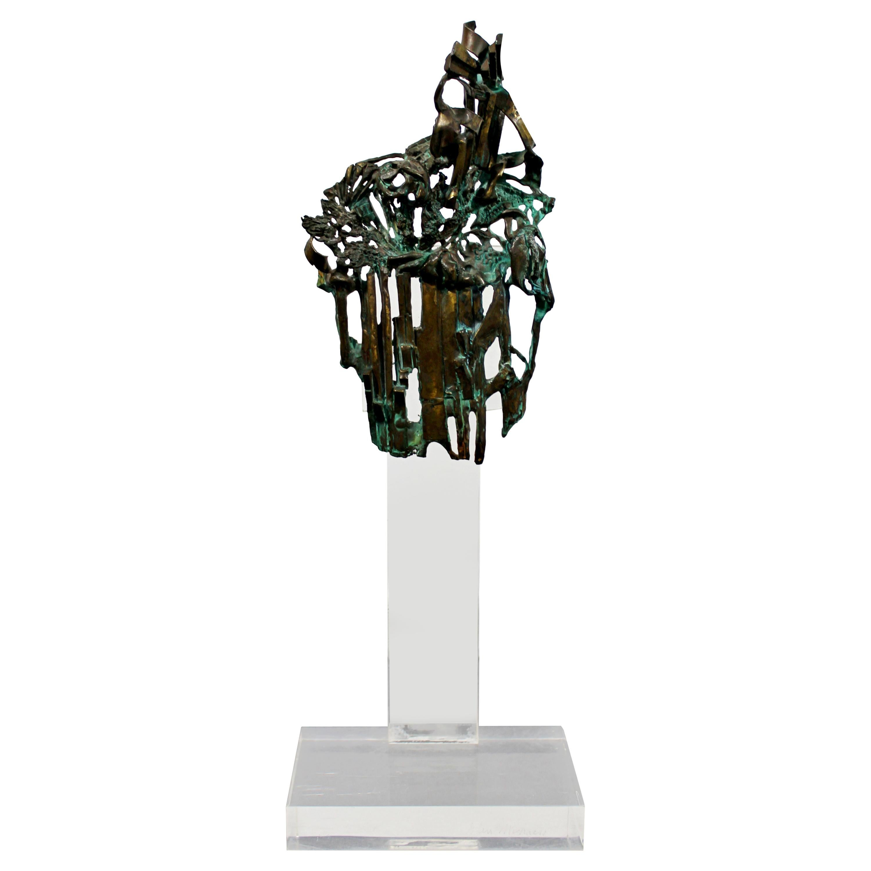 Mid-Century Modern Brutalist Bronze Table Sculpture Signed Glen Michaels, 1970s