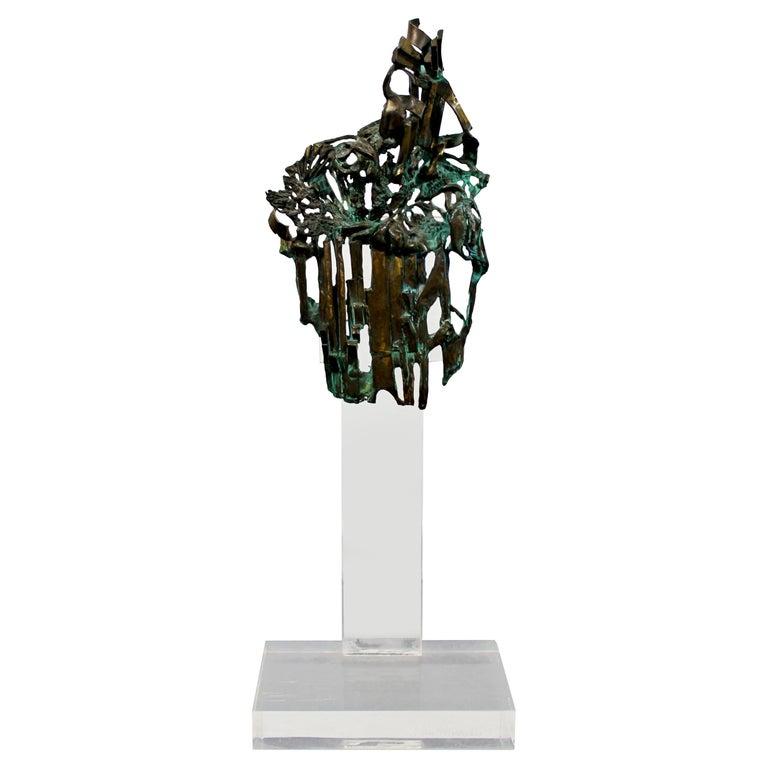 Mid-Century Modern Brutalist Bronze Table Sculpture Signed Glen Michaels, 1970s For Sale