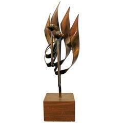 Mid-Century Modern Brutalist Candleholder Table Sculpture Signed Chayat, 1960s