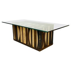 Mid-Century Modern Brutalist Coffee Table by Curtis Jere, Signed