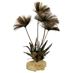 Mid-Century Modern Brutalist Copper Flower Table Sculpture Signed John Steck