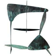 Mid-Century Modern Brutalist Copper Metal Abstract Table Sculpture, 1970s
