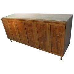 Mid-Century Modern Brutalist Credenza, Dresser by Bert England Travertine Top