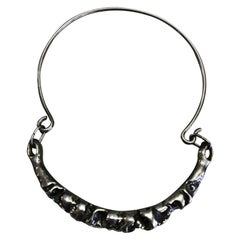 Mid-Century Modern Brutalist Exquisite Sterling Silver Collar Choker Necklace