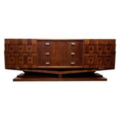 Mid-Century Modern Brutalist Floating Credenza or Dresser
