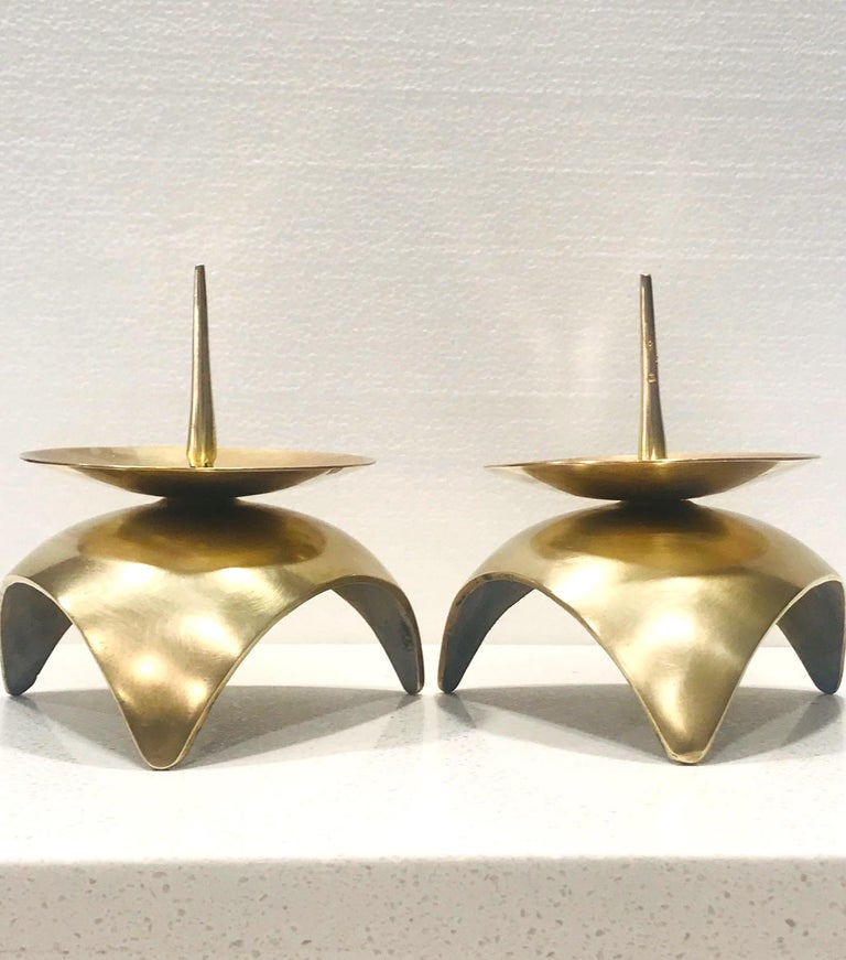 Mid-Century Modern Brutalist Japanese Candleholders in Solid Brass, circa 1960s For Sale 8
