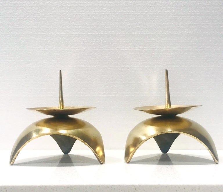 Mid-Century Modern Brutalist Japanese Candleholders in Solid Brass, circa 1960s For Sale 9