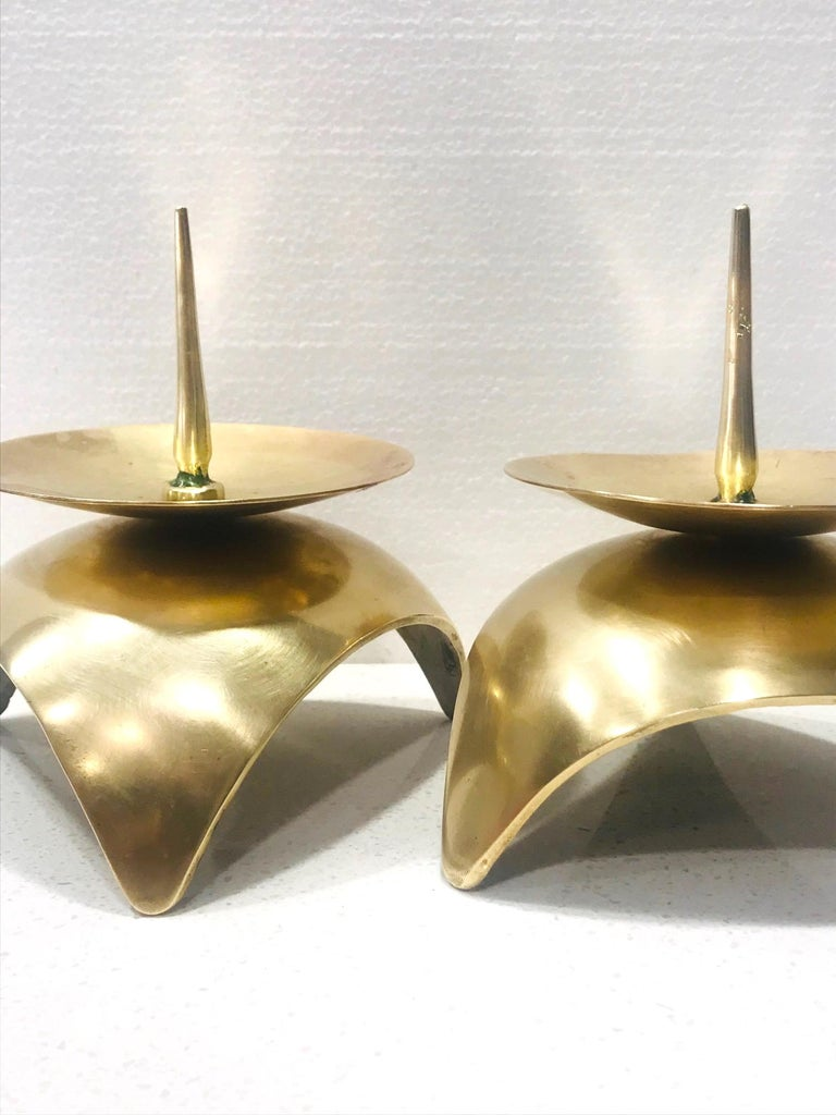 Mid-20th Century Mid-Century Modern Brutalist Japanese Candleholders in Solid Brass, circa 1960s For Sale