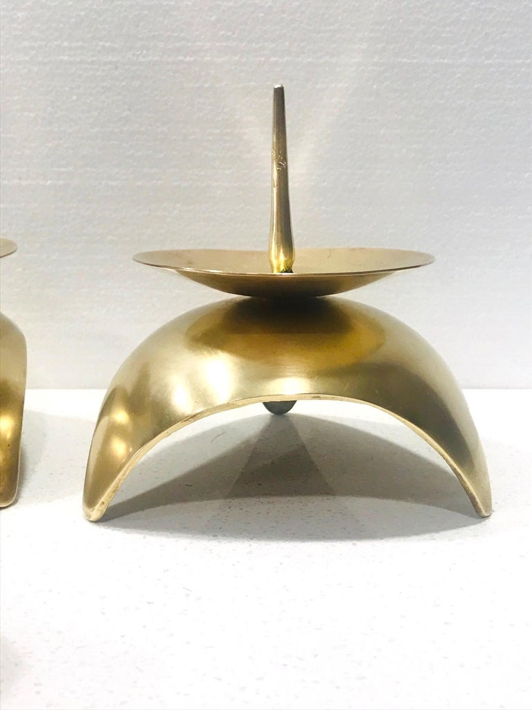 Mid-Century Modern Brutalist Japanese Candleholders in Solid Brass, circa 1960s For Sale 2