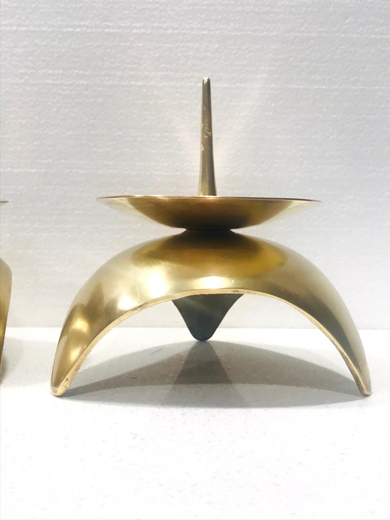 Mid-Century Modern Brutalist Japanese Candleholders in Solid Brass, circa 1960s For Sale 3