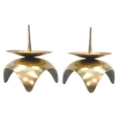 Mid-Century Modern Brutalist Japanese Candleholders in Solid Brass, circa 1960s
