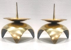 Mid-Century Modern Brutalist Japanese Candleholders in Solid Brass, c. 1960s