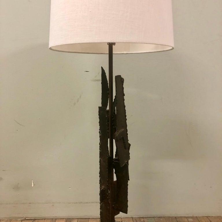 Iron Mid-Century Modern Brutalist Lamp For Sale