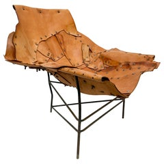 Mid-Century Modern Brutalist Lounge Chaise Leather Chair Iron Frame Tripod