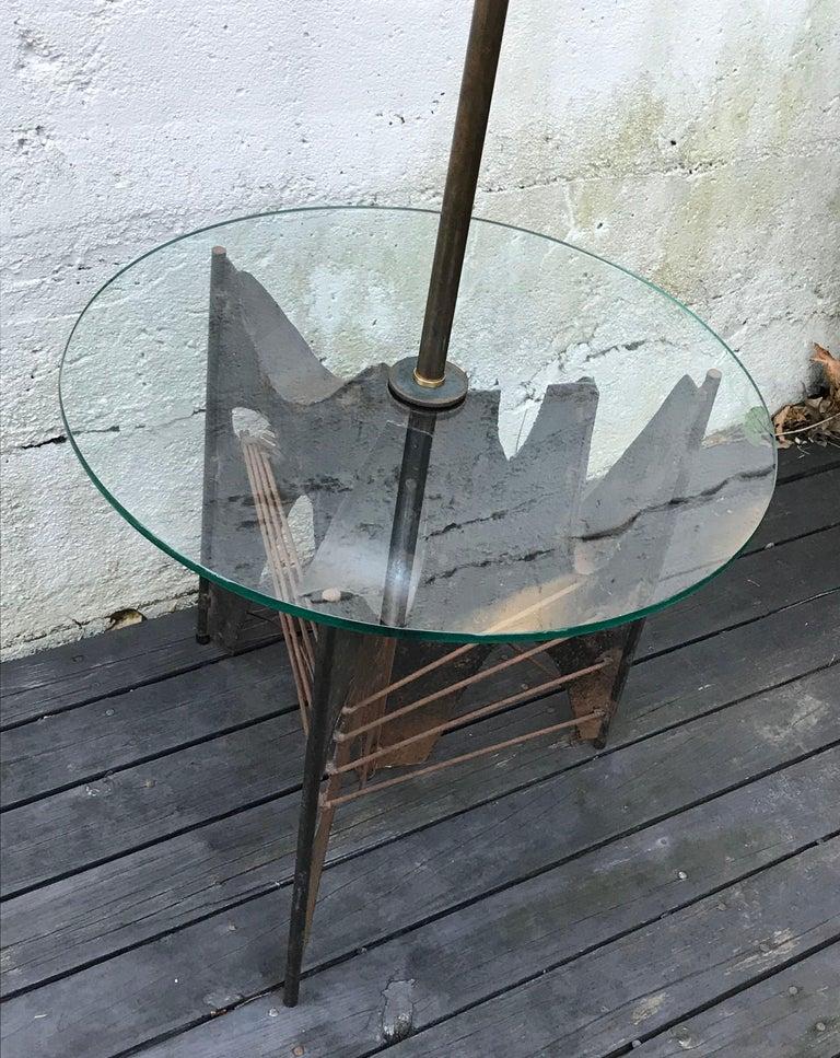 American Mid-Century Modern Brutalist Metal Floor Lamp by Richard Barr for Laurel, 1960s For Sale