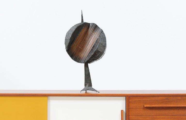 American Mid-Century Modern Brutalist Metal Copper Sculpture For Sale
