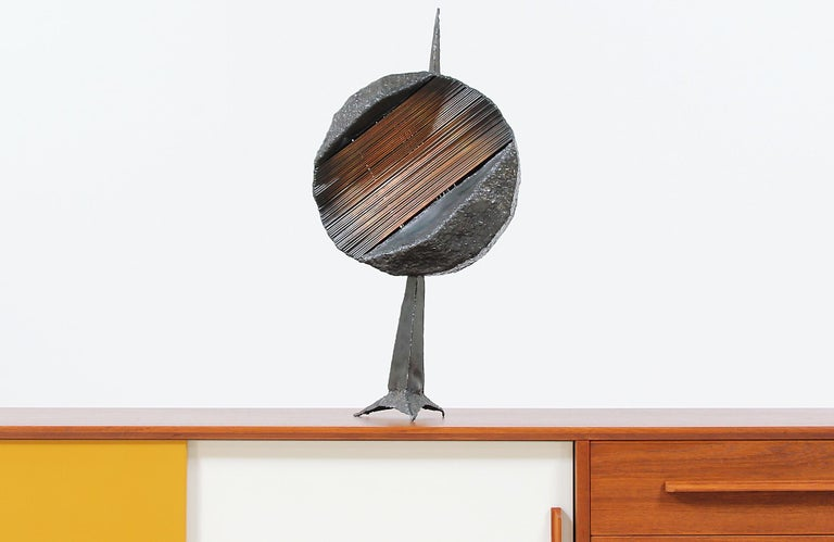 Patinated Mid-Century Modern Brutalist Metal Copper Sculpture For Sale