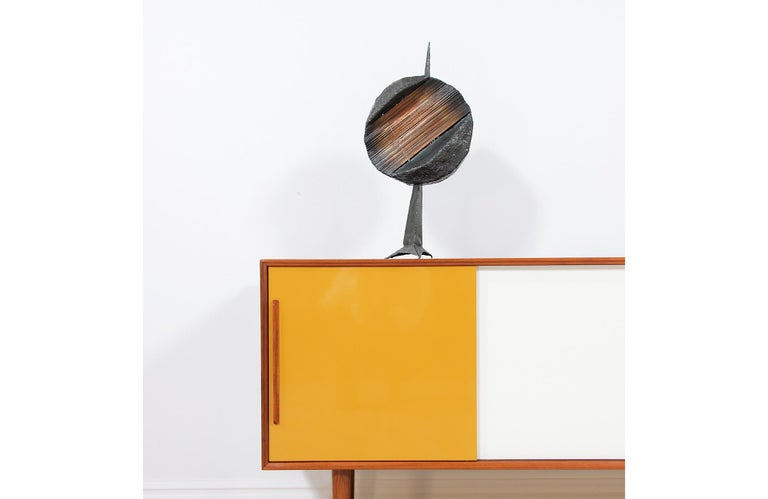 Mid-Century Modern Brutalist Metal Copper Sculpture In Excellent Condition For Sale In Los Angeles, CA