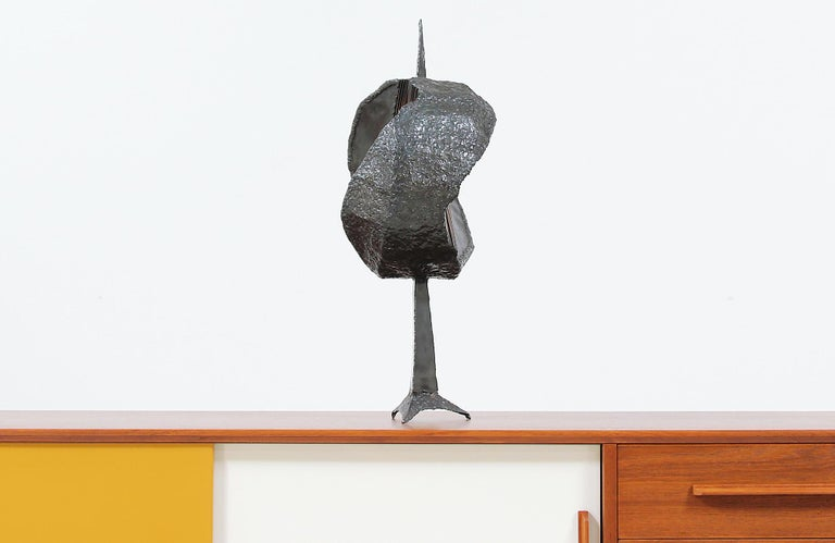 Mid-20th Century Mid-Century Modern Brutalist Metal Copper Sculpture For Sale