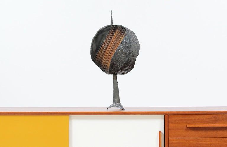 Brass Mid-Century Modern Brutalist Metal Copper Sculpture For Sale