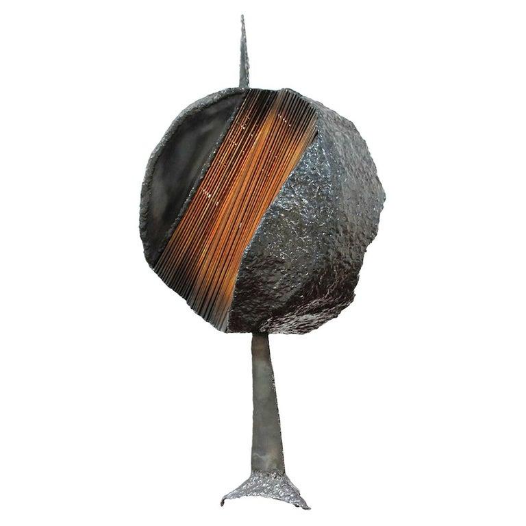 Mid-Century Modern Brutalist Metal Copper Sculpture For Sale