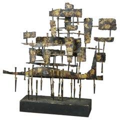 Mid-Century Modern Brutalist Metal Sculpture, circa 1960