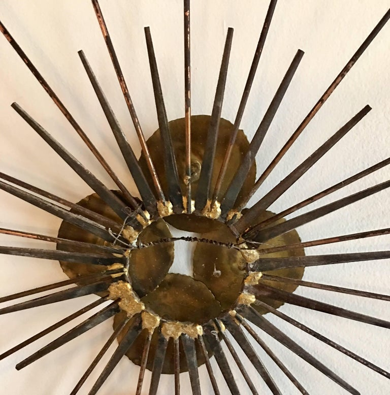 Mid-Century Modern Brutalist Metal Sunburst Wall Sculpture For Sale 3