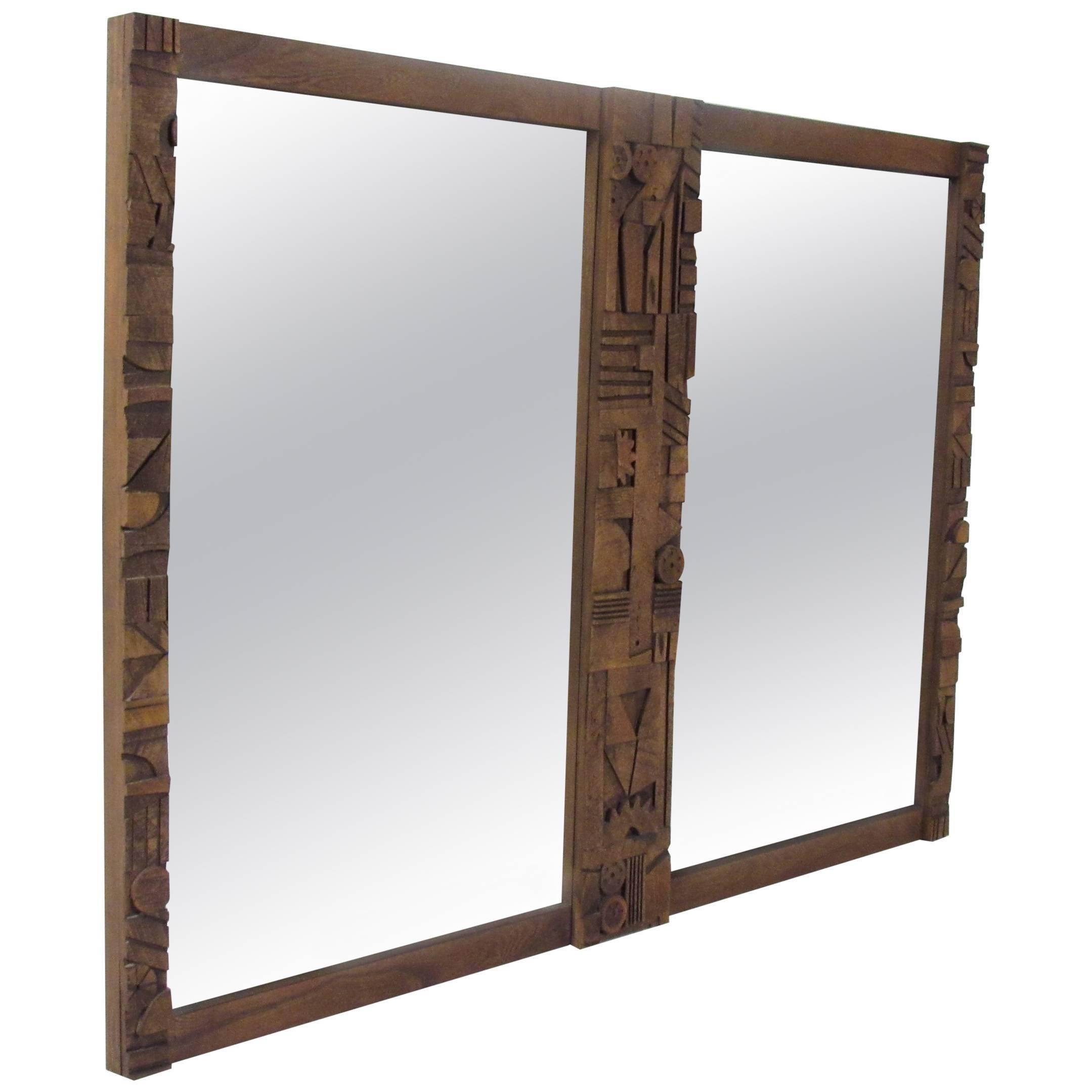 Mid-Century Modern Brutalist Mirror by Lane Furniture