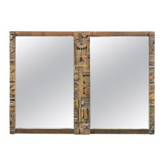 Mid-Century Modern Brutalist Mirror in the Style of Lane Furniture