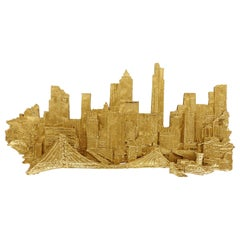 Mid-Century Modern Brutalist NYC Cityscape Wall Sculpture, Signed