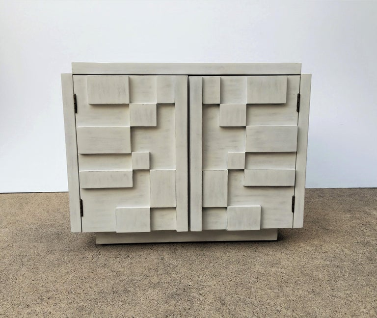 Inspired by Paul Evans this Brutalist / Cubist nightstands / side tables,