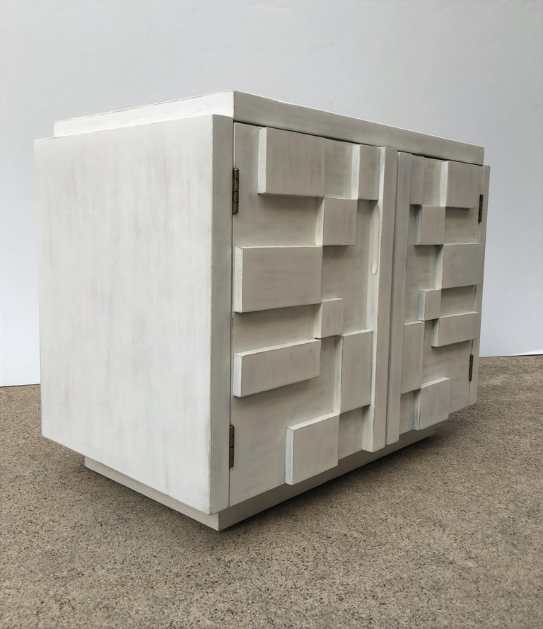 Late 20th Century Mid-Century Modern Brutalist Pair of Lane Nightstands For Sale