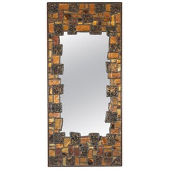 Mid-Century Modern Brutalist Patchwork Mirror in Brass, Copper, Bronze & Pewter