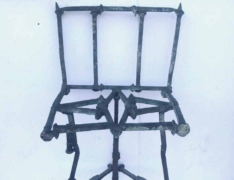 Steel Mid-Century Modern Brutalist Railroad Spikes Chair Sculpture For Sale