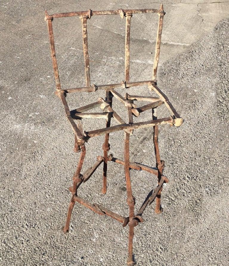Mid-Century Modern Brutalist Railroad Spikes Chair Sculpture For Sale 1