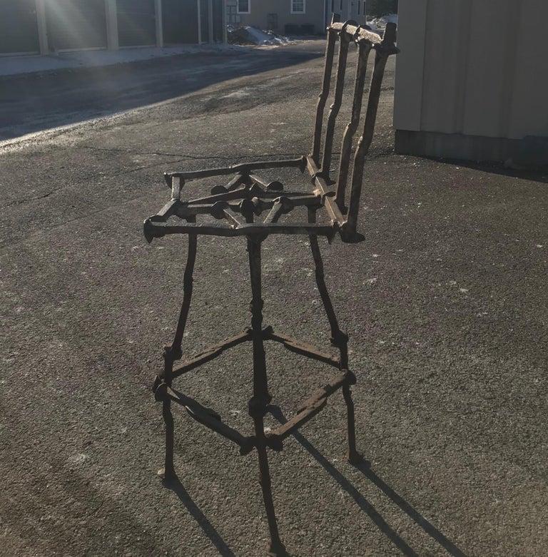 Mid-Century Modern Brutalist Railroad Spikes Chair Sculpture For Sale 2